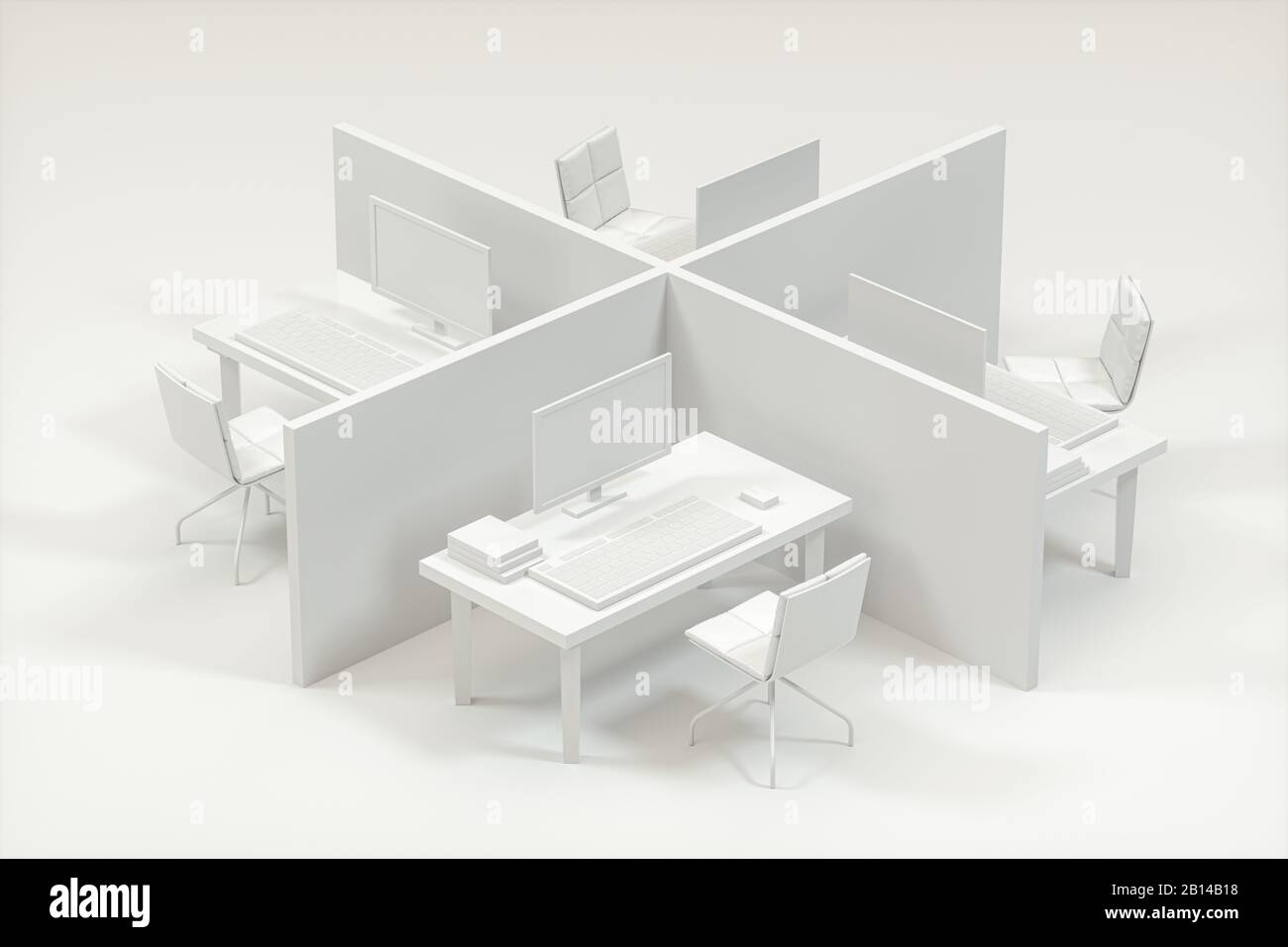 Office Model With White Background Abstract Conception 3d
