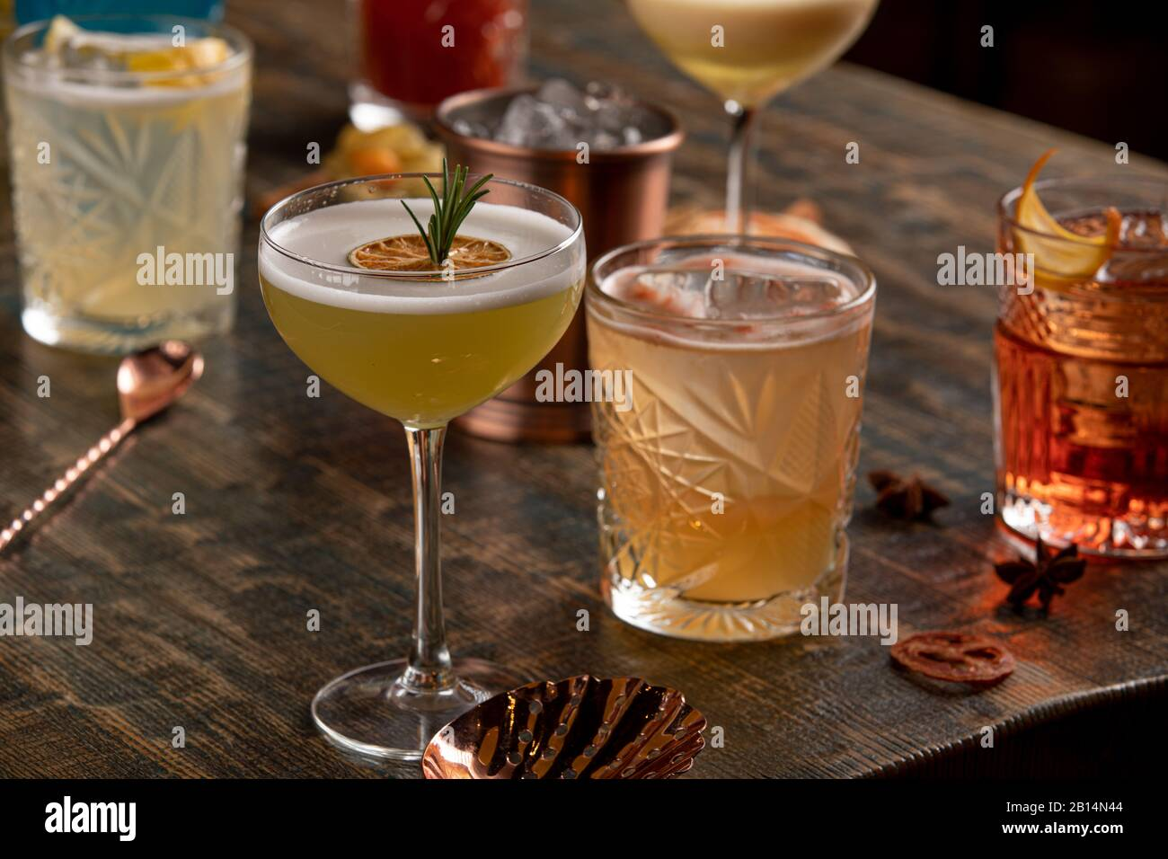 Many different multi-colored cocktails with different colors Stock Photo