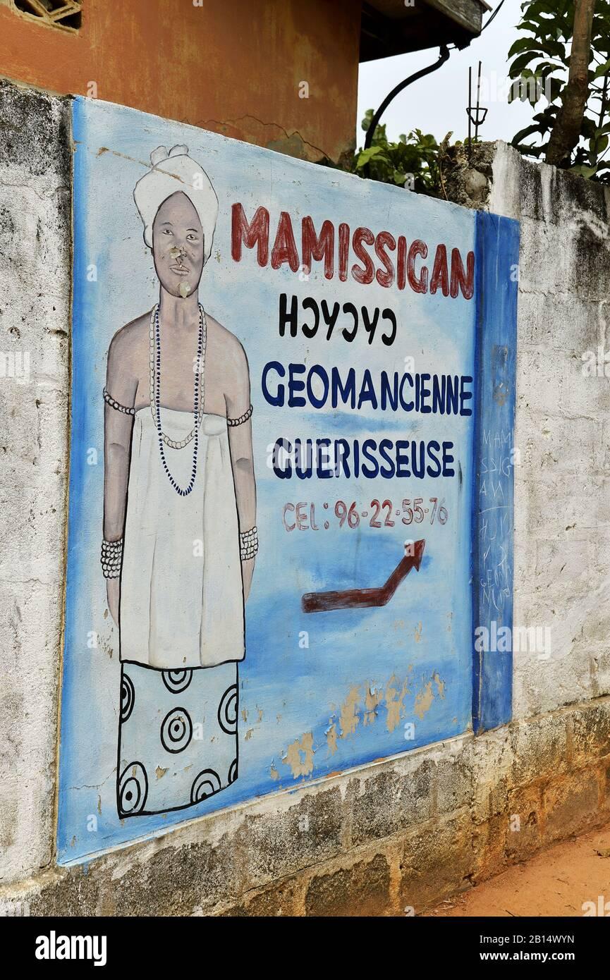 Traditional Healer sign - Badougbé - Togo - West Africa Stock Photo