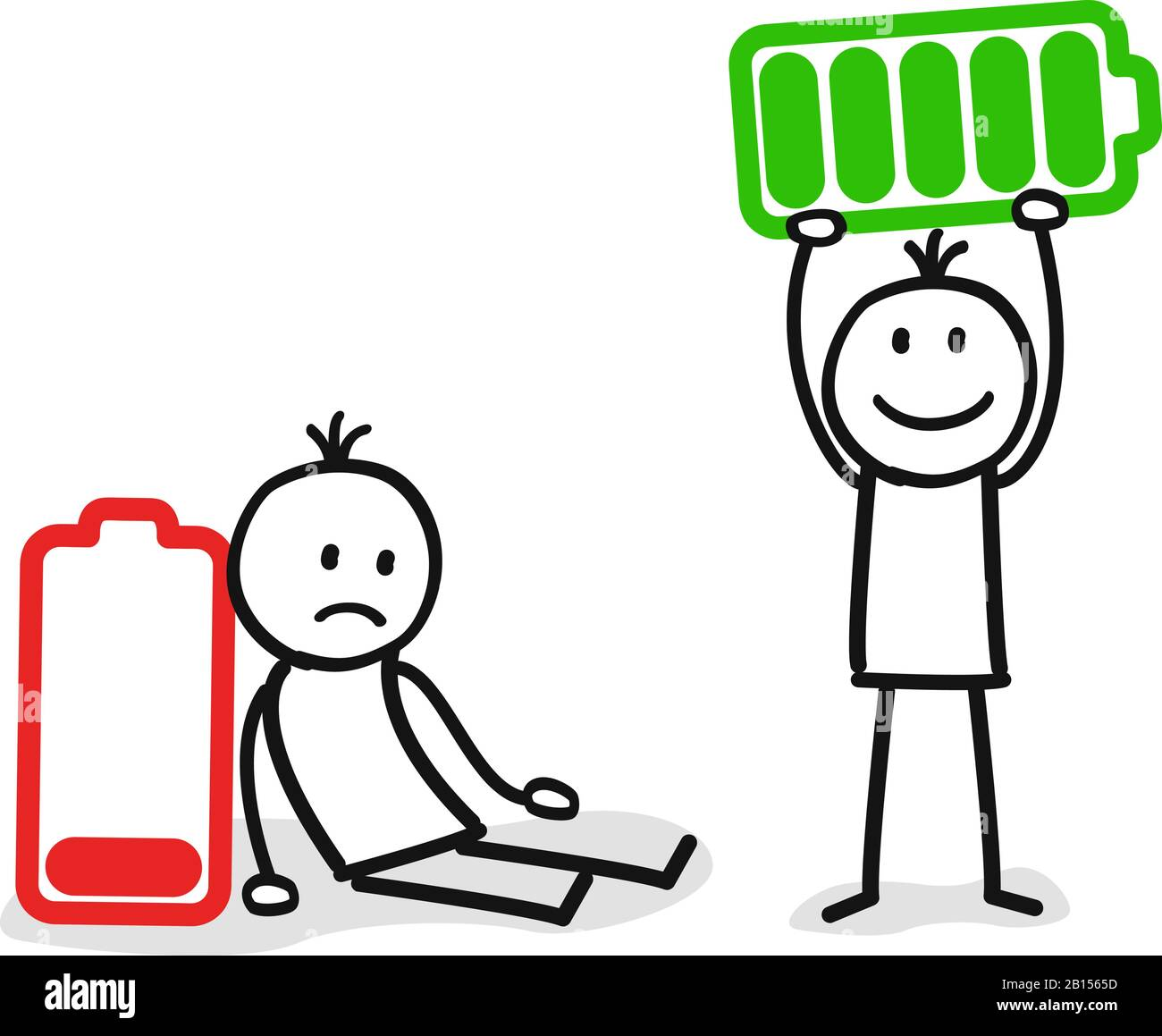 person with low energy and full energy Stock Vector Image & Art - Alamy