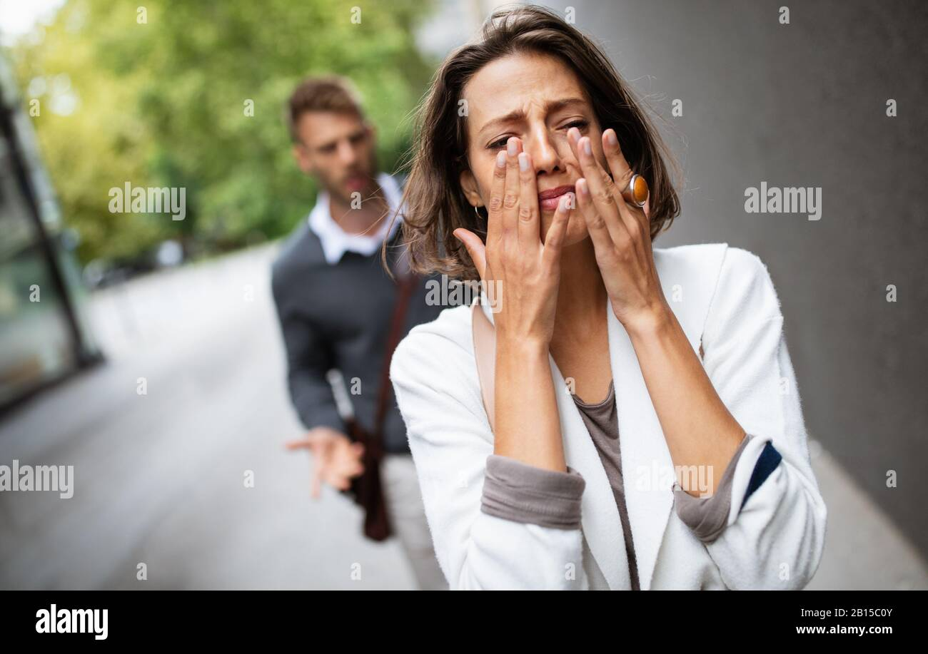 Breakup Of Couple With Man And Sad Girlfriend Outdoor Divorce Couple Love Pain Concept Stock Photo Alamy