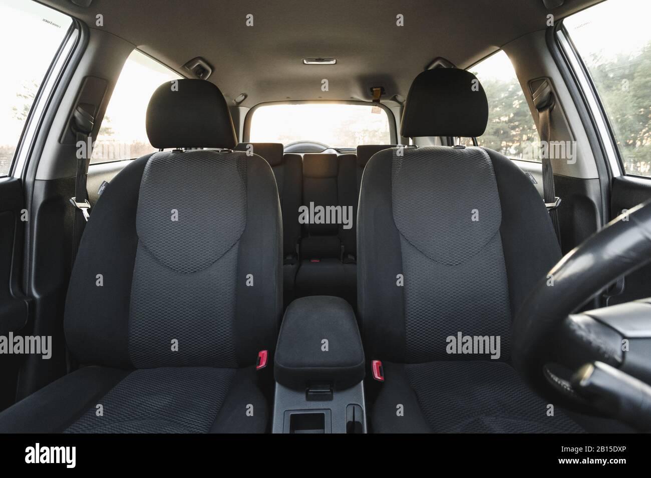 Car Interior Part Of Front Seats Close Stock Photo Alamy