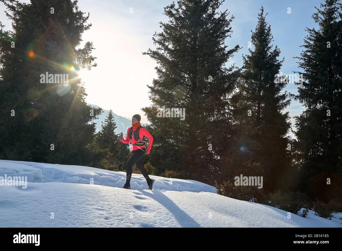Trail runner in pink jacket woman running in winter mountains trail on snow.  Stock Photo