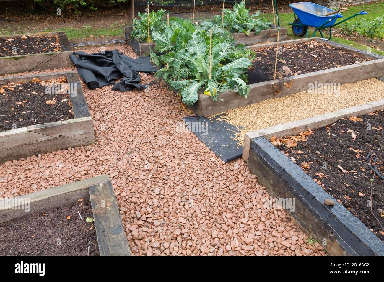 Laying Weed Control Fabric Or Weed Membrane And A Gravel Path In A