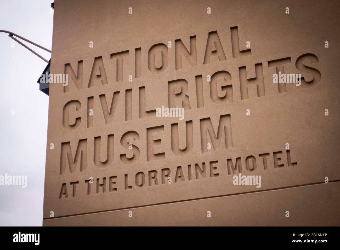 Memphis, Tennessee - January 27, 2020: National Civil Rights Museum logo at the Lorraine Motel, location of MLK assassination Stock Photo
