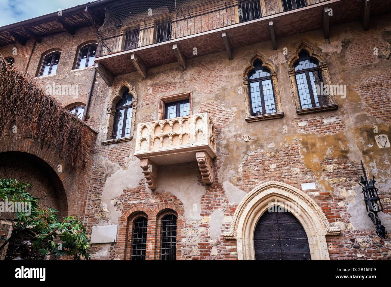 Patio and balcony of Romeo and Juliet house at golden sunset, Verona, Italy Stock Photo