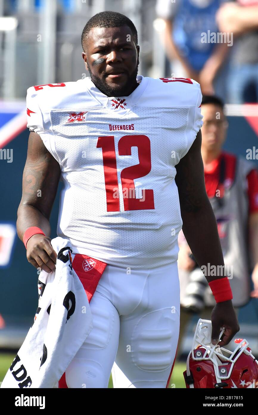 Carson, CA. 23rd Feb, 2020. DC Defenders Quarterback Cardale Jones #12 during the pre game of the XFL football game against the DC Defenders at the Dignity Heath Sports Park in Carson, California.Mandatory Photo Credit: Louis Lopez/CSM/Alamy Live News Stock Photo