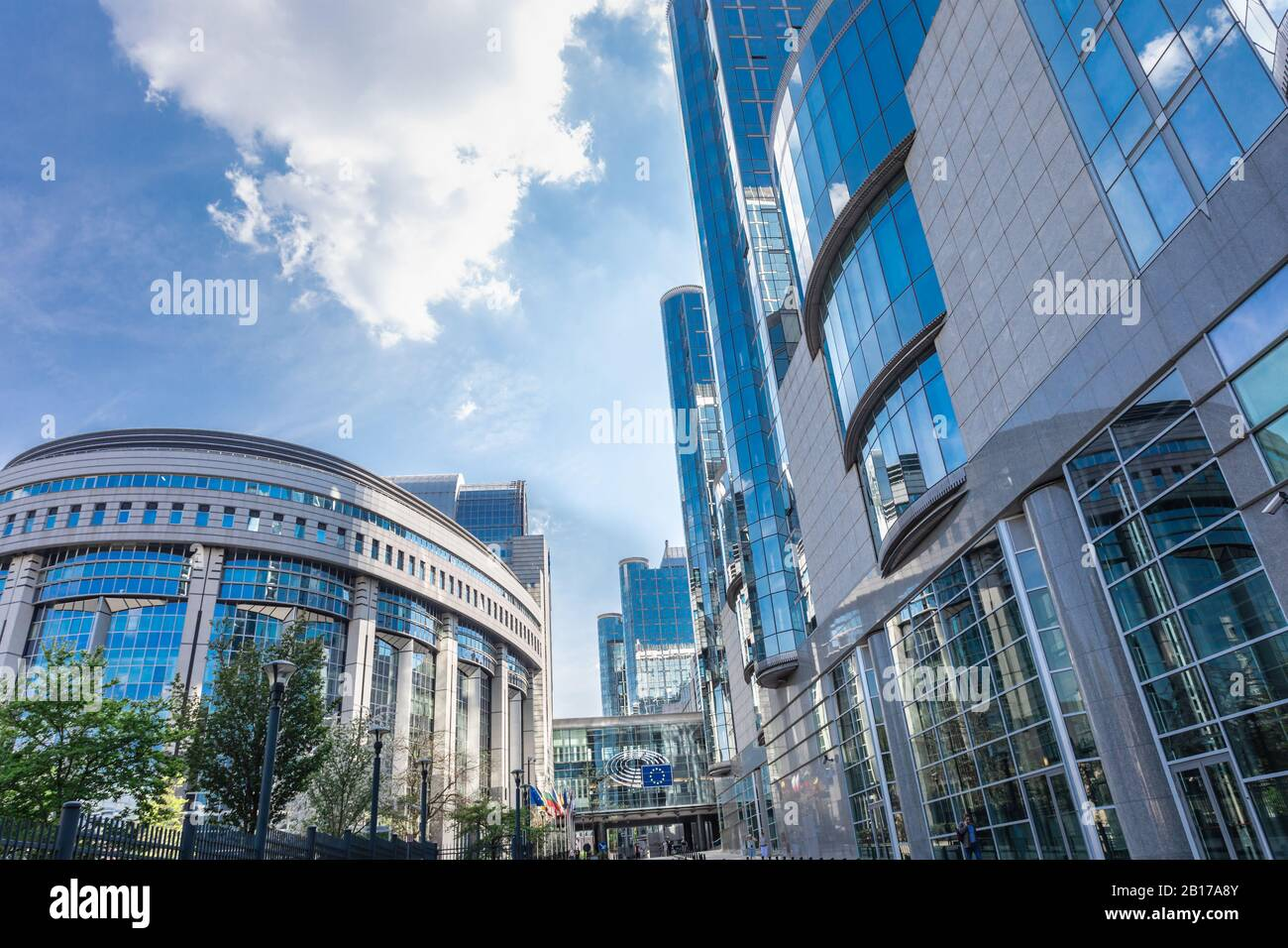Building of European Parliament in Brussels, Belgium. European commission building. Symbol of European Union. Stock Photo