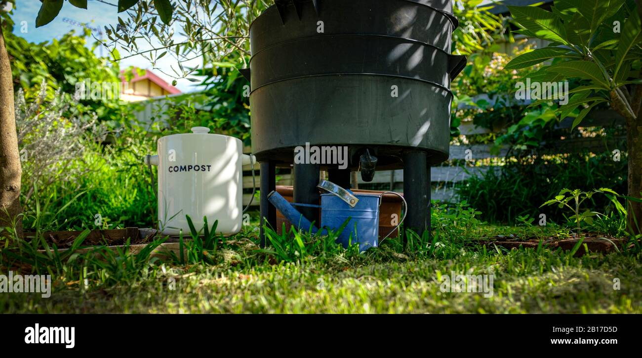 Worm Farm Compost Bin In Organic Australian Garden With Kitchen Waste Collection Container Sustainable Living And Zero Waste Lifestyle Stock Photo Alamy
