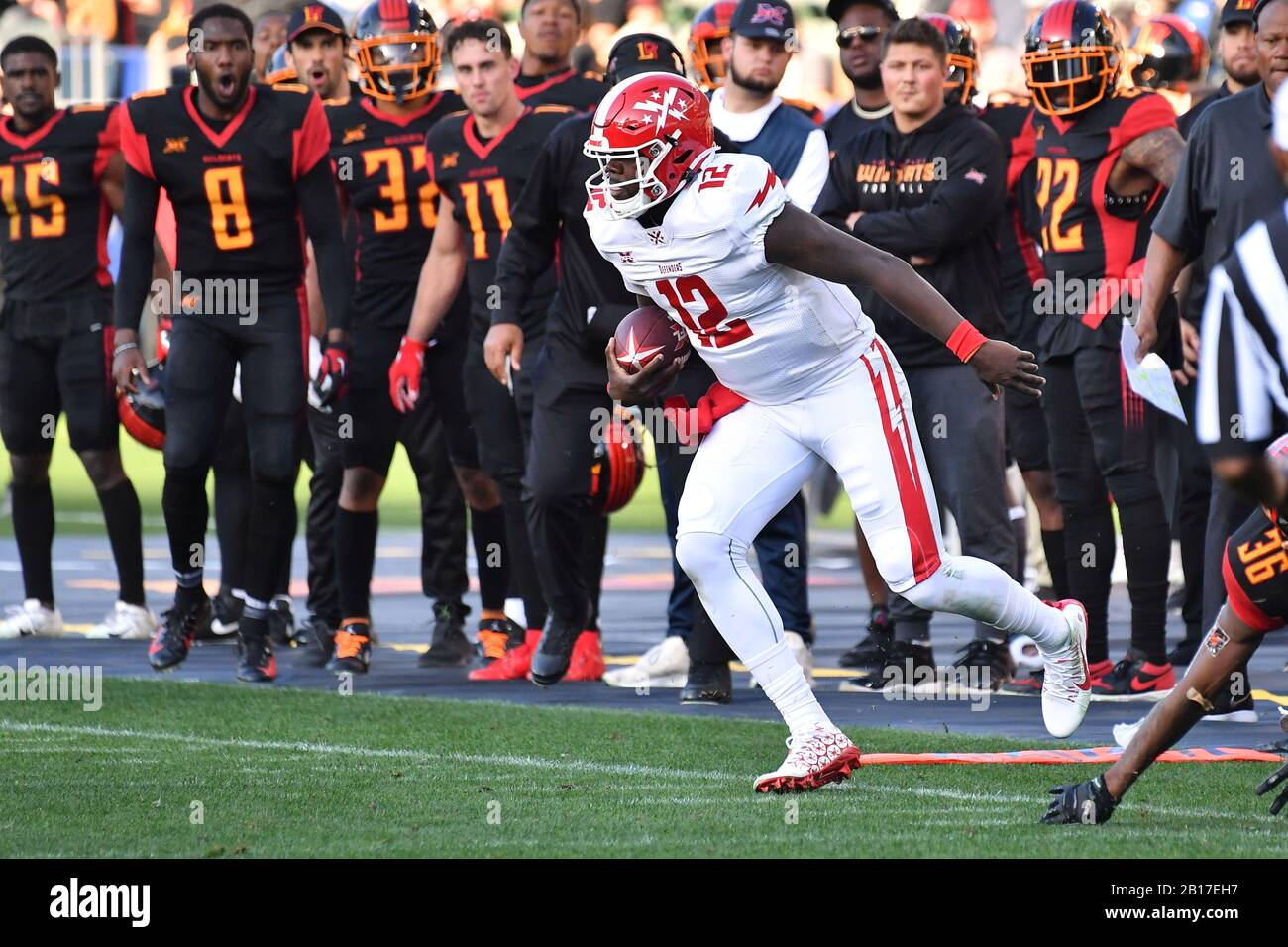 Carson, CA. 23rd Feb, 2020. DC Defenders Quarterback Cardale Jones #12 in action during the XFL football game against the DC Defenders at the Dignity Heath Sports Park in Carson, California.Mandatory Photo Credit: Louis Lopez/CSM/Alamy Live News Stock Photo