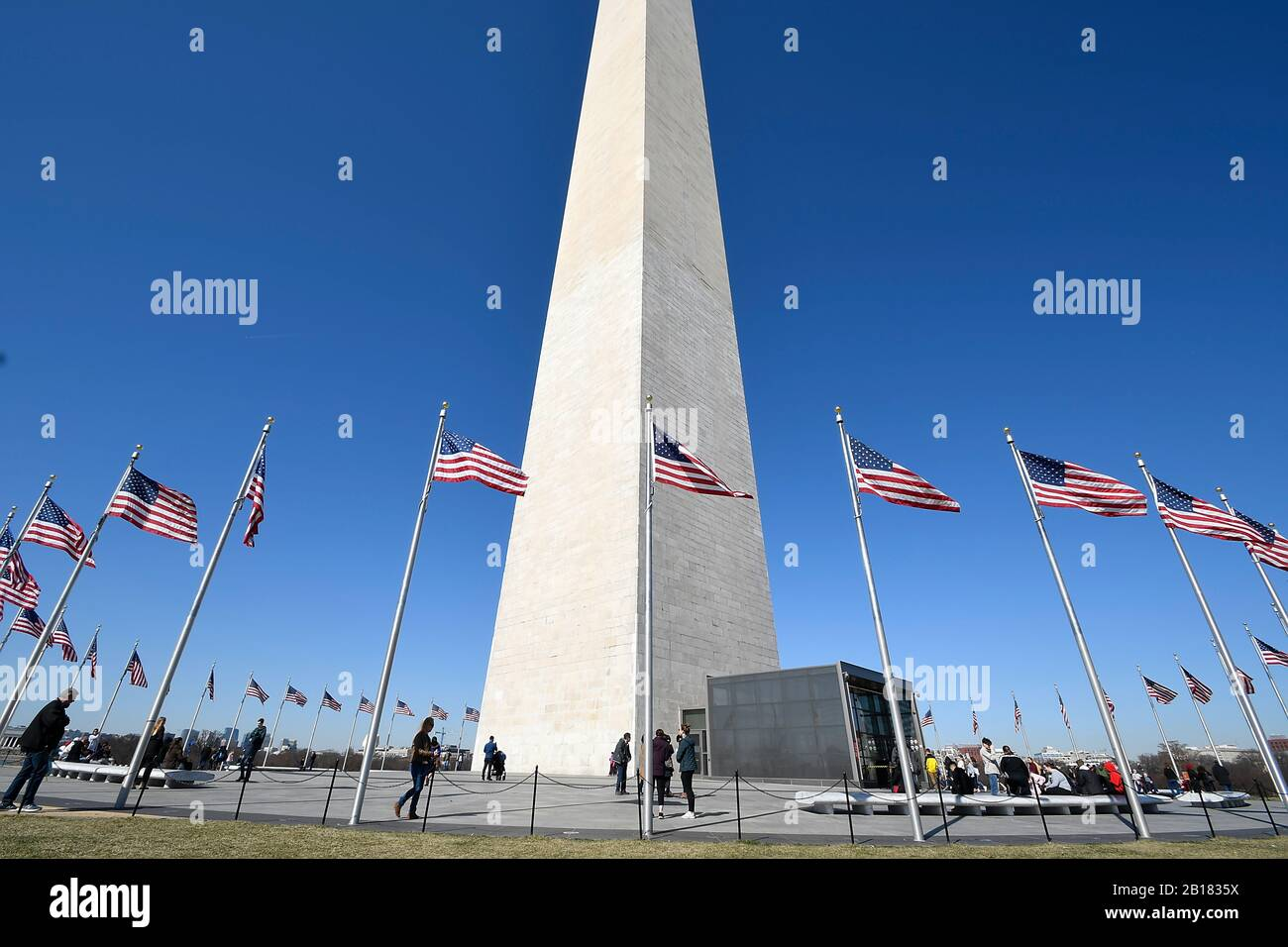 Closeup wide angle view of Washington Monument in District of Columbia Stock Photo