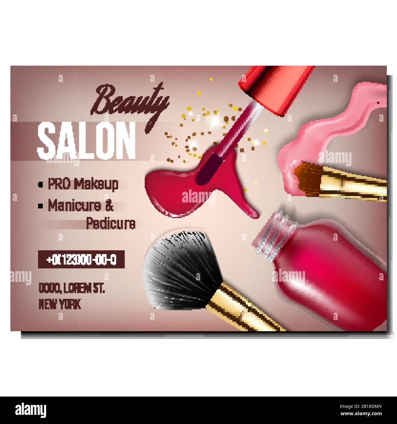 Beauty Salon Cosmetology Advertising Poster Vector Stock Vector Image Art Alamy