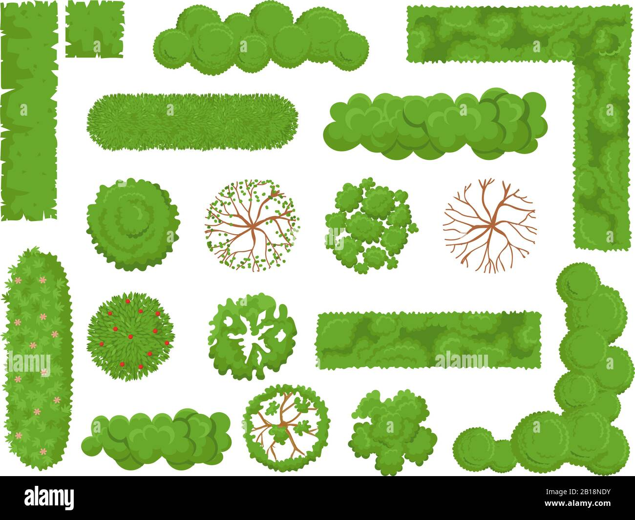 Top view trees and bushes. Forest tree, green park bush and plant map elements look from above isolated vector set Stock Vector