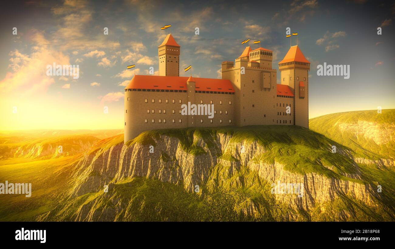 Castle on the rock by golden sunshine. Medieval sunshine with ancient fortress. 3D illustration. Stock Photo