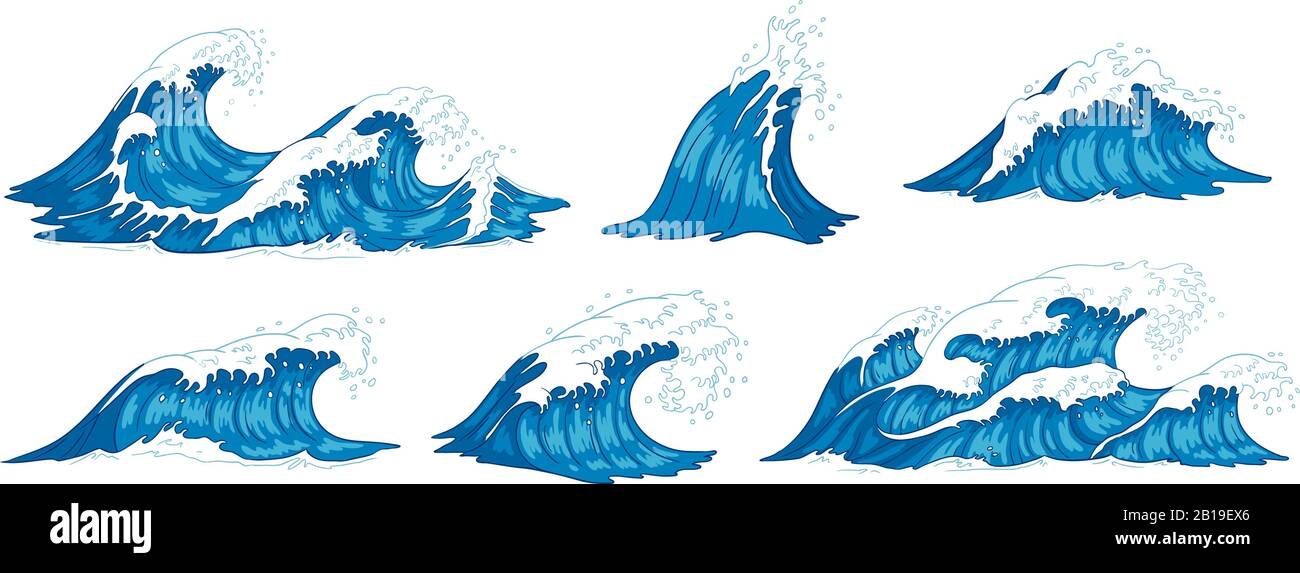 Ocean waves. Raging sea water wave, vintage storm waves and ripples tides hand drawn vector illustration Stock Vector
