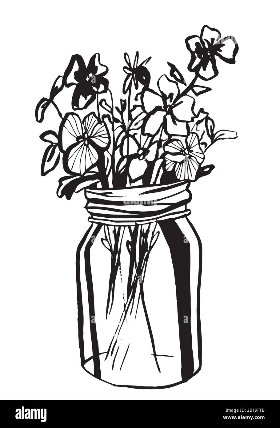 Hand drawn diffrent flowers in mason jar. Vector illustration. Coloring page. Stock Vector