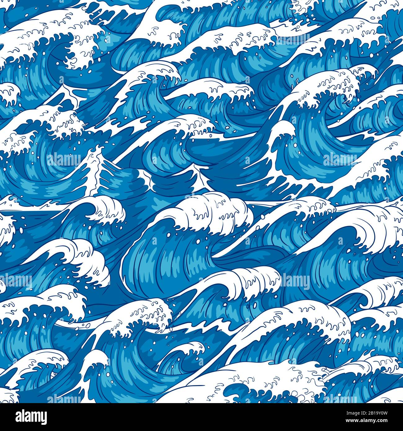 Storm waves seamless pattern. Raging ocean water, sea wave and vintage japanese storms print vector illustration background Stock Vector