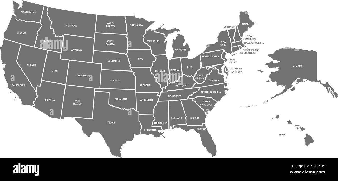 Picture of: Usa Map United States Of America Poster With State Names Geographic American Maps Including Alaska And Hawaii Vector Illustration Stock Vector Image Art Alamy