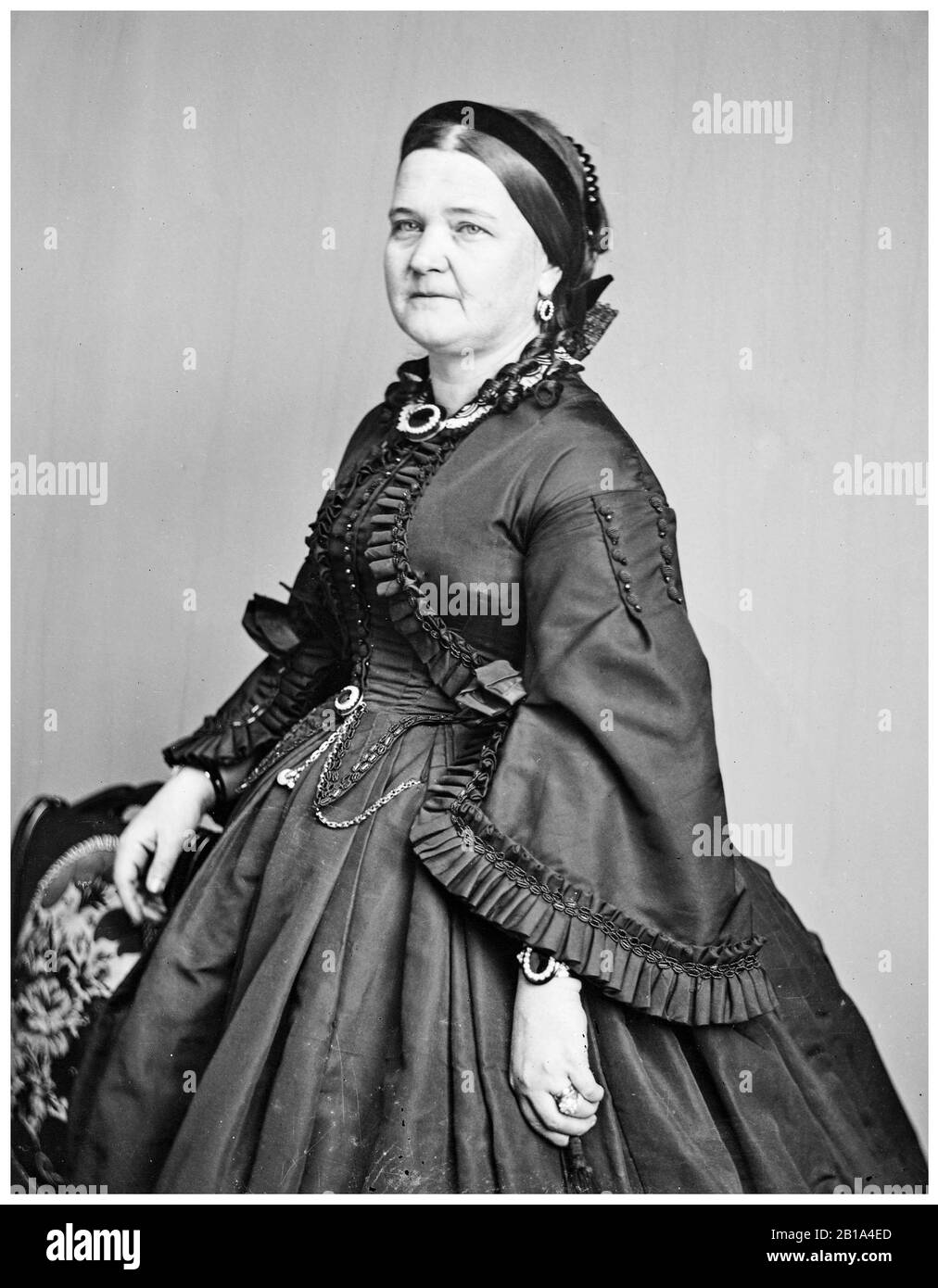Mary Todd Lincoln (1818-1882), wife of President Abraham Lincoln, First Lady (1861-1865), portrait photograph by Mathew Brady Studio, circa 1863 Stock Photo