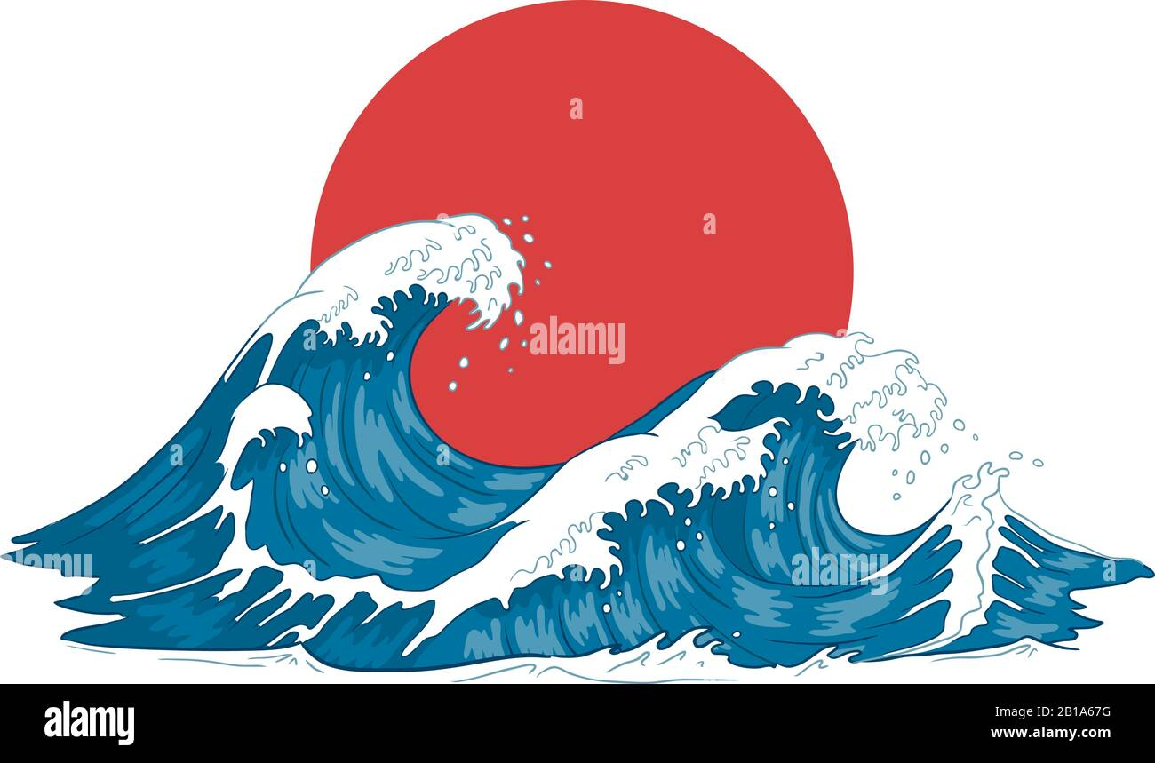 Japanese wave. Japanese big waves, raging ocean and vintage sea water vector illustration Stock Vector
