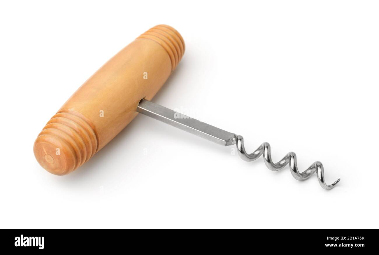 Wood handled corkscrew isolated on white Stock Photo