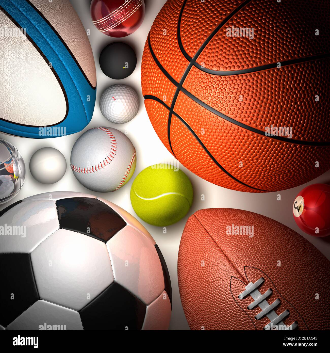 Balls of various sports shot from above. Ball family. Football, basketball, tennis, rugby, baseball, cricket, golf, squash, boules, pool, table tennis Stock Photo