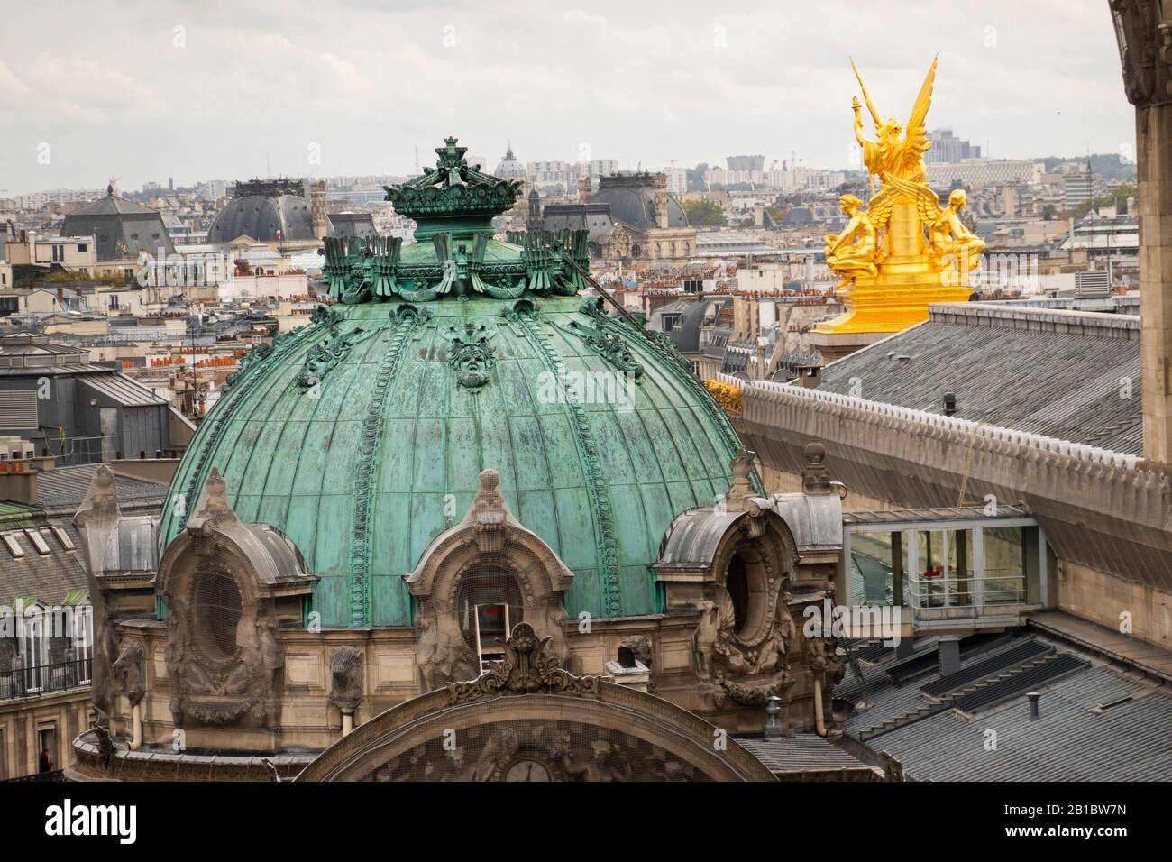 Paris Opera house building scene from Galeries Lafayette rooftop Paris France Stock Photo