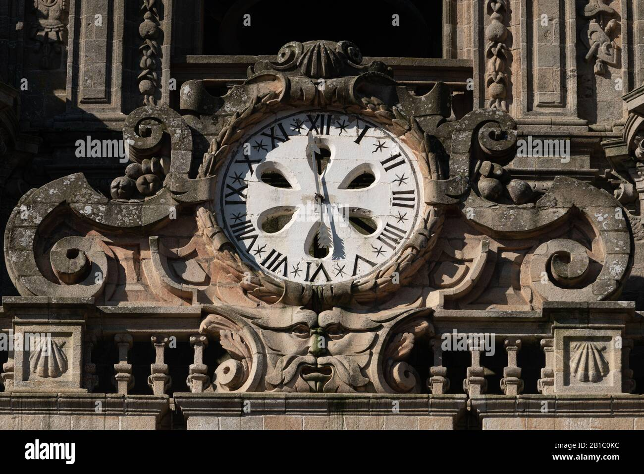 Ancient clock on Berenguela tower of Santiago de Compostela Cathedral Stock Photo