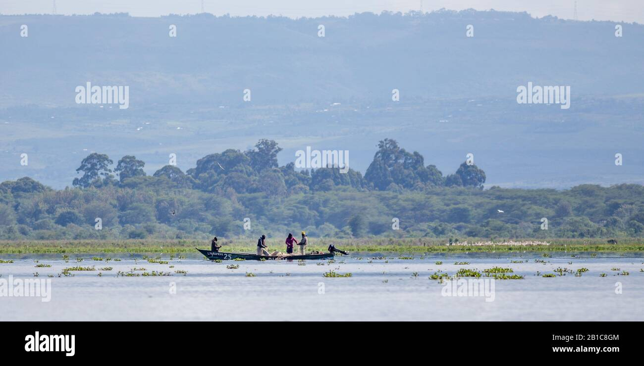 Fishermen on Lake Naivasha, a freshwater lake in Kenya, near Nakuru, north west of Nairobi in the Great Rift Valley Stock Photo