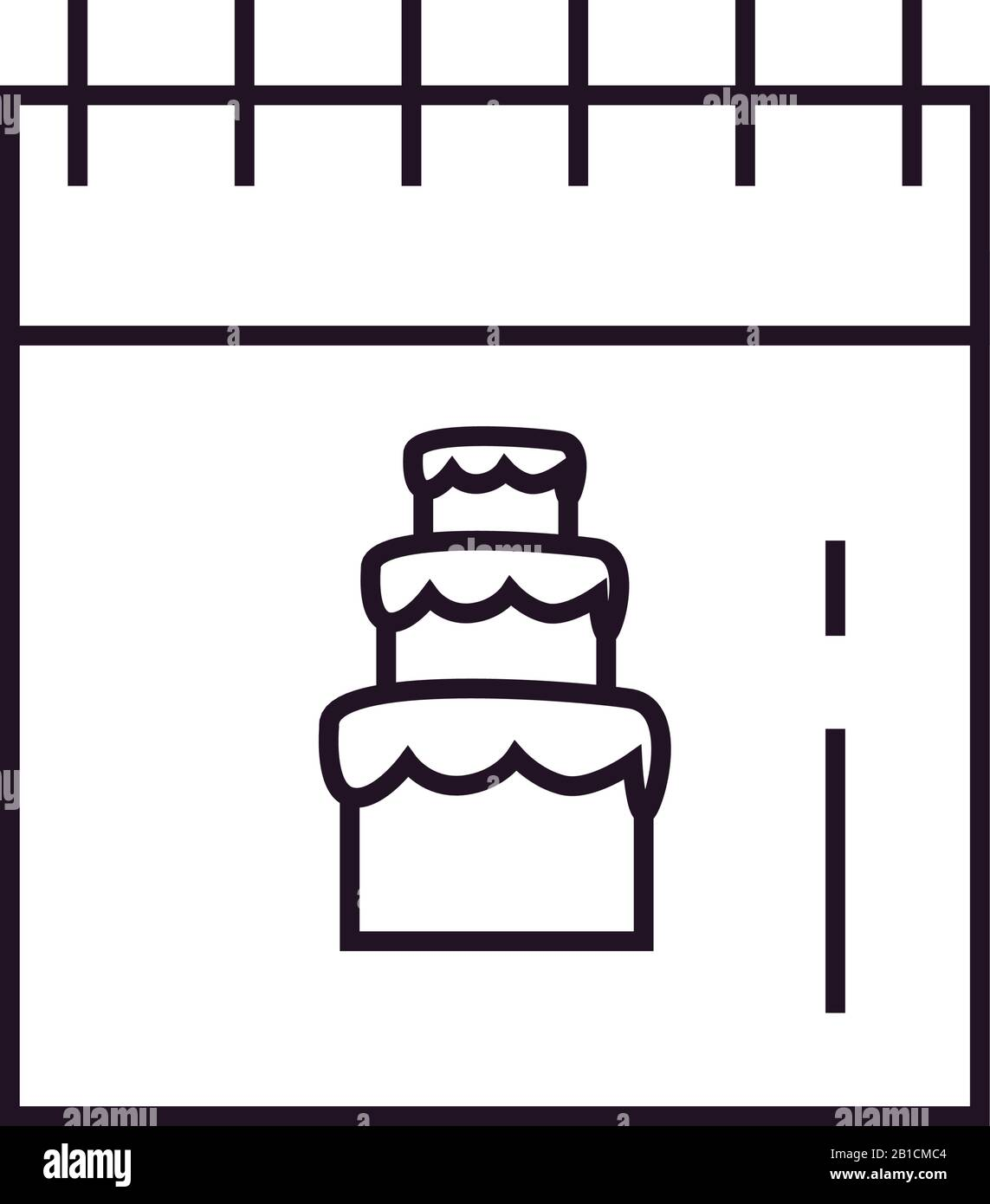 Sweet cake inside calendar line style icon design, dessert food delicious sugar snack and tasty theme Vector illustration Stock Vector