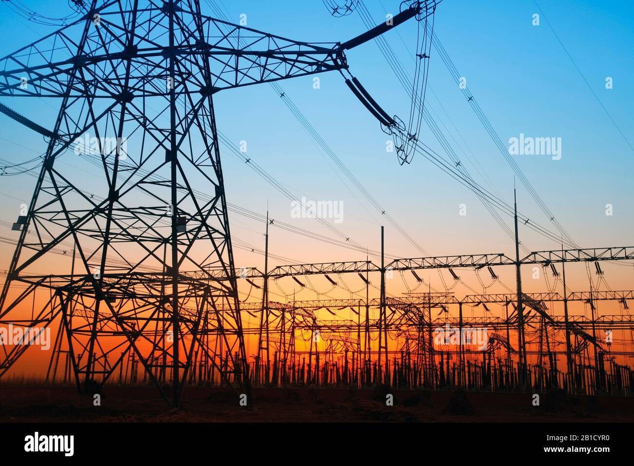 In the evening, the outline of substation, it is very beautiful Stock Photo