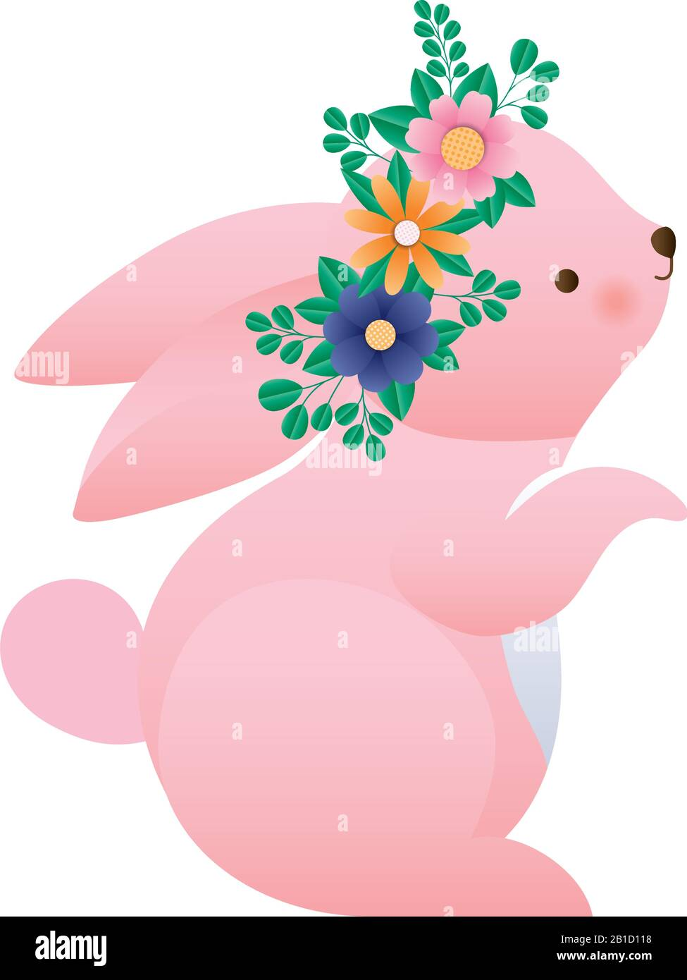 Cute Rabbit Cartoon With Flowers Crown Vector Design Stock Vector Image Art Alamy Here you can explore hq flower crown transparent illustrations, icons and clipart with filter setting polish your personal project or design with these flower crown transparent png images, make it. alamy