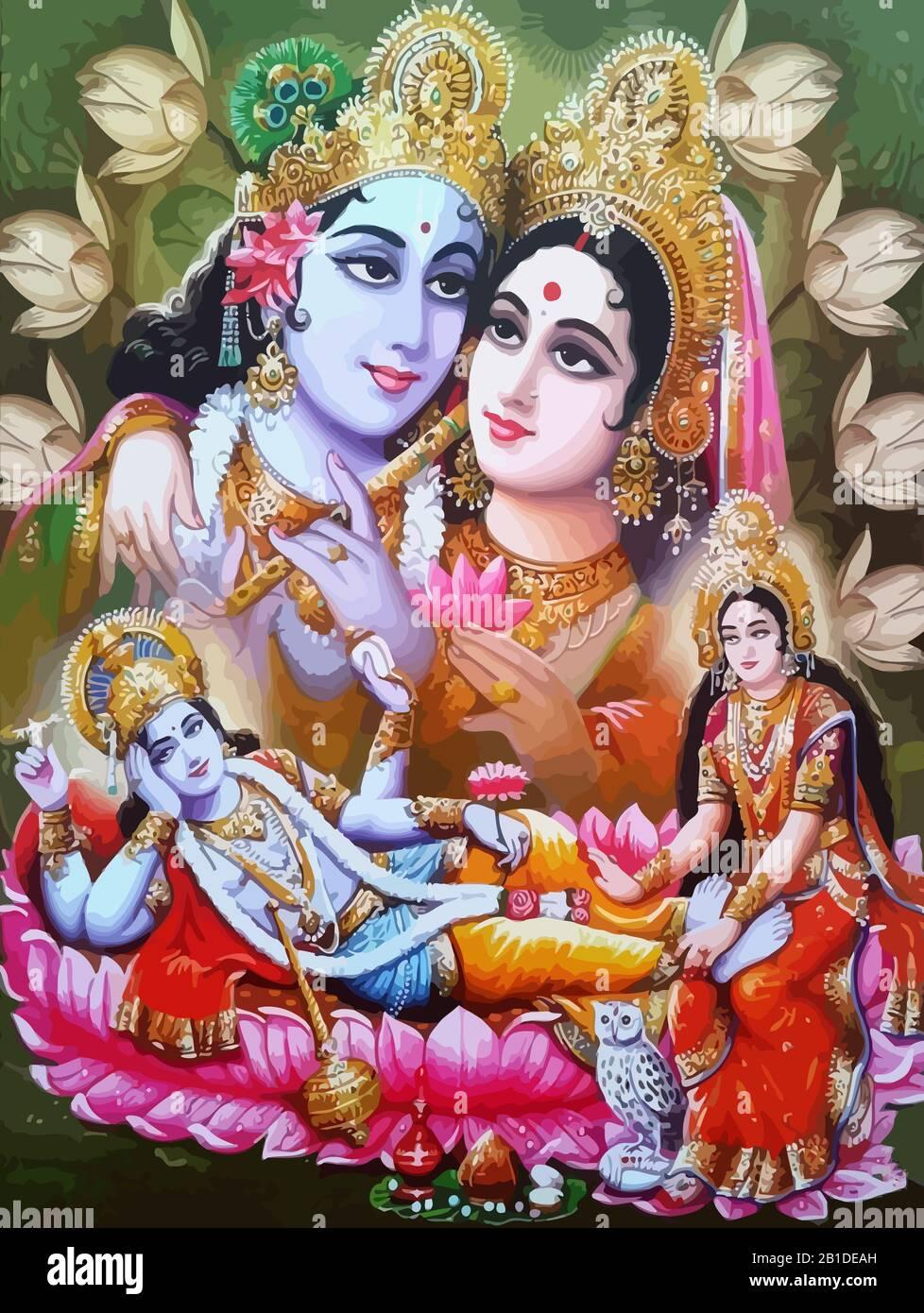 Lord Vishnu Lady Lakshmi Wife Lotus Flower Prosperity Hinduism Mythology Illustration Stock Photo Alamy
