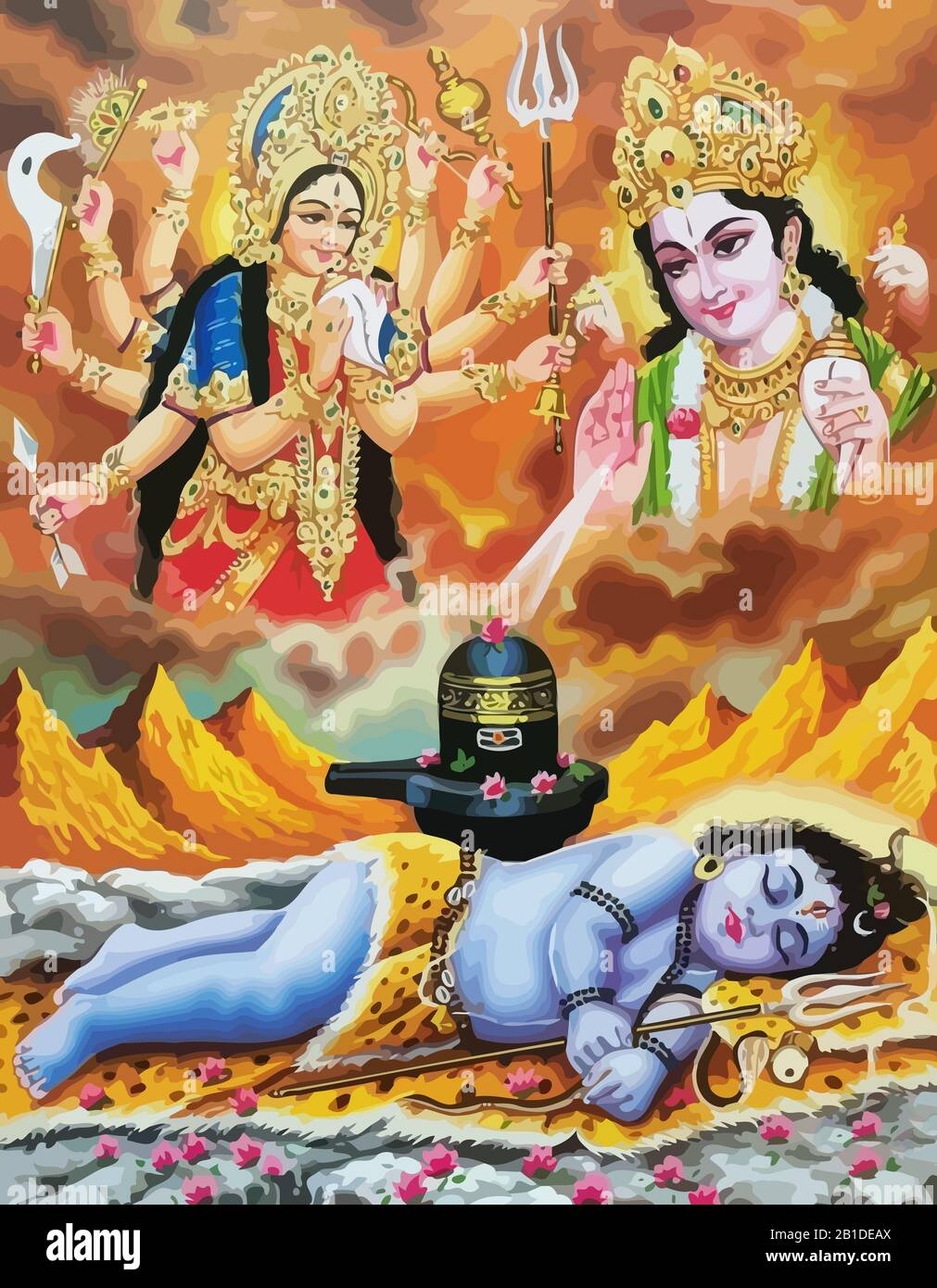 lord surya and durga baby krishna mythology hinduism illustration 2B1DEAX
