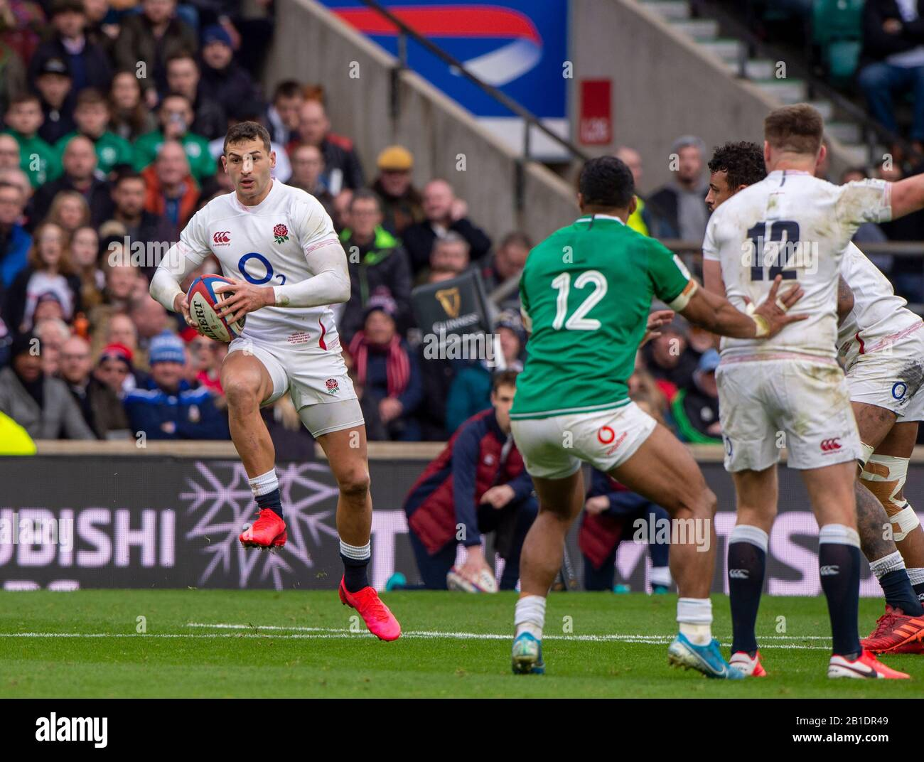 Twickenham, England, 23rd February, Guinness Six Nations, International Rugby, Jonny MAY, with some fancy footwork, during then England vs Ireland, RFU Stadium, United Kingdom, [Mandatory Credit; Peter SPURRIER/Intersport Images] Stock Photo