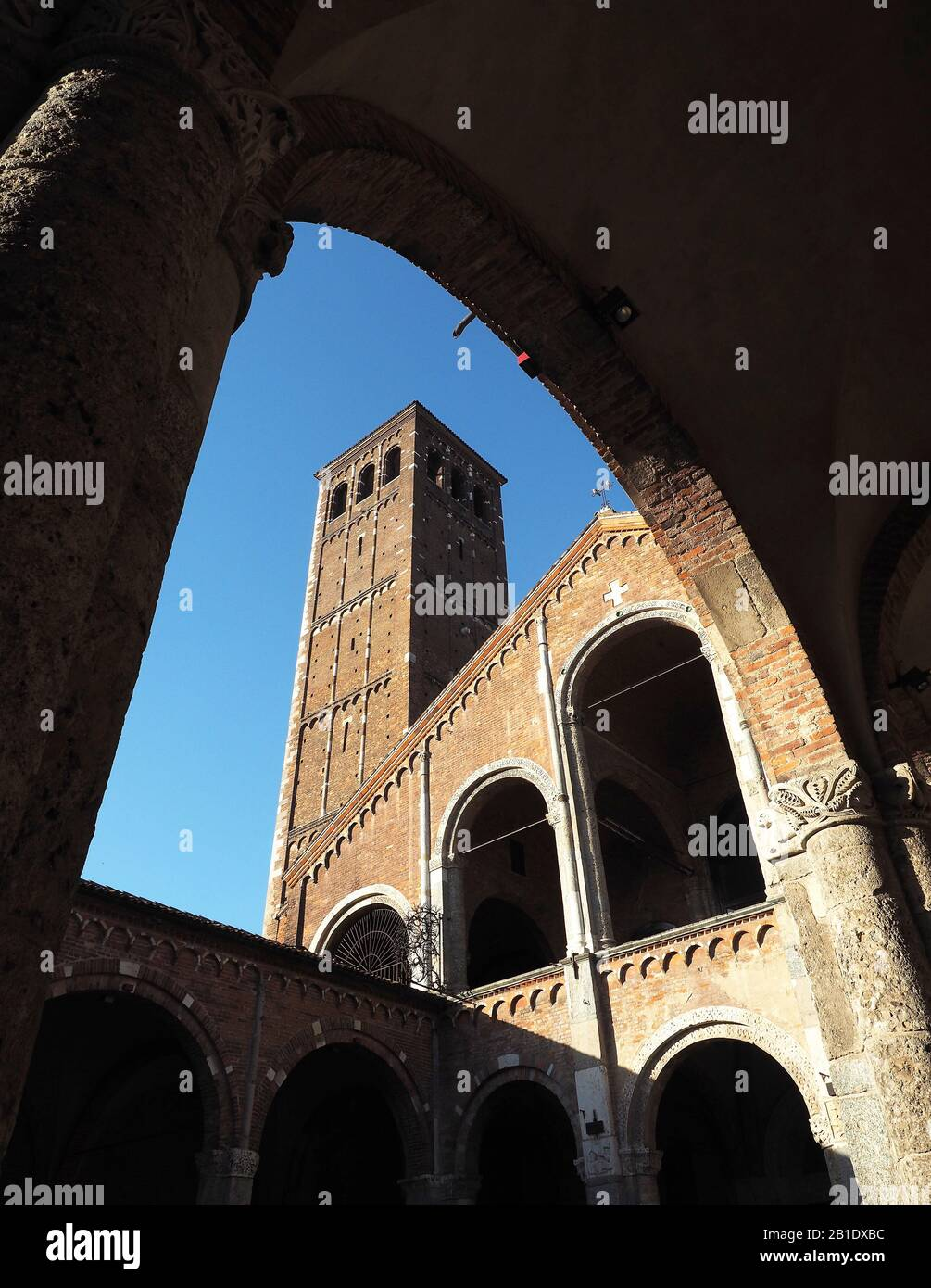Europe, Italy, Lombardy, Milan, Abbey of S. Ambrogio. Early Christian and medieval Romanesque Stock Photo