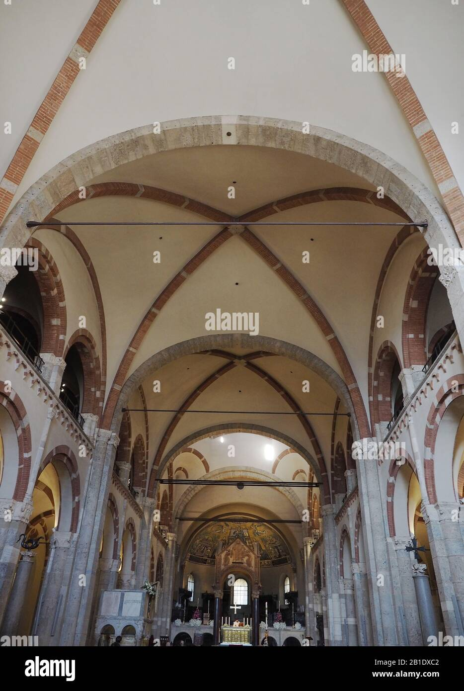Europe, Italy, Lombardy, Milan, Abbey of S. Ambrogio. Early Christian and medieval Romanesque church. Stock Photo