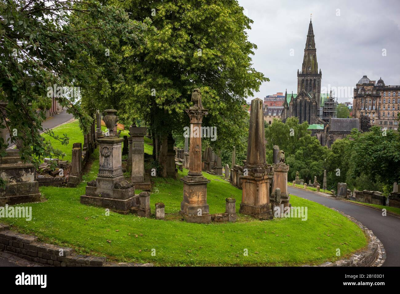 Glasgow, Scotland/UK - June 29, 2019: The Glasgow Necropolis, a Victorian cemetery, is located on a low, but very prominent hill to the east of Glasgo Stock Photo