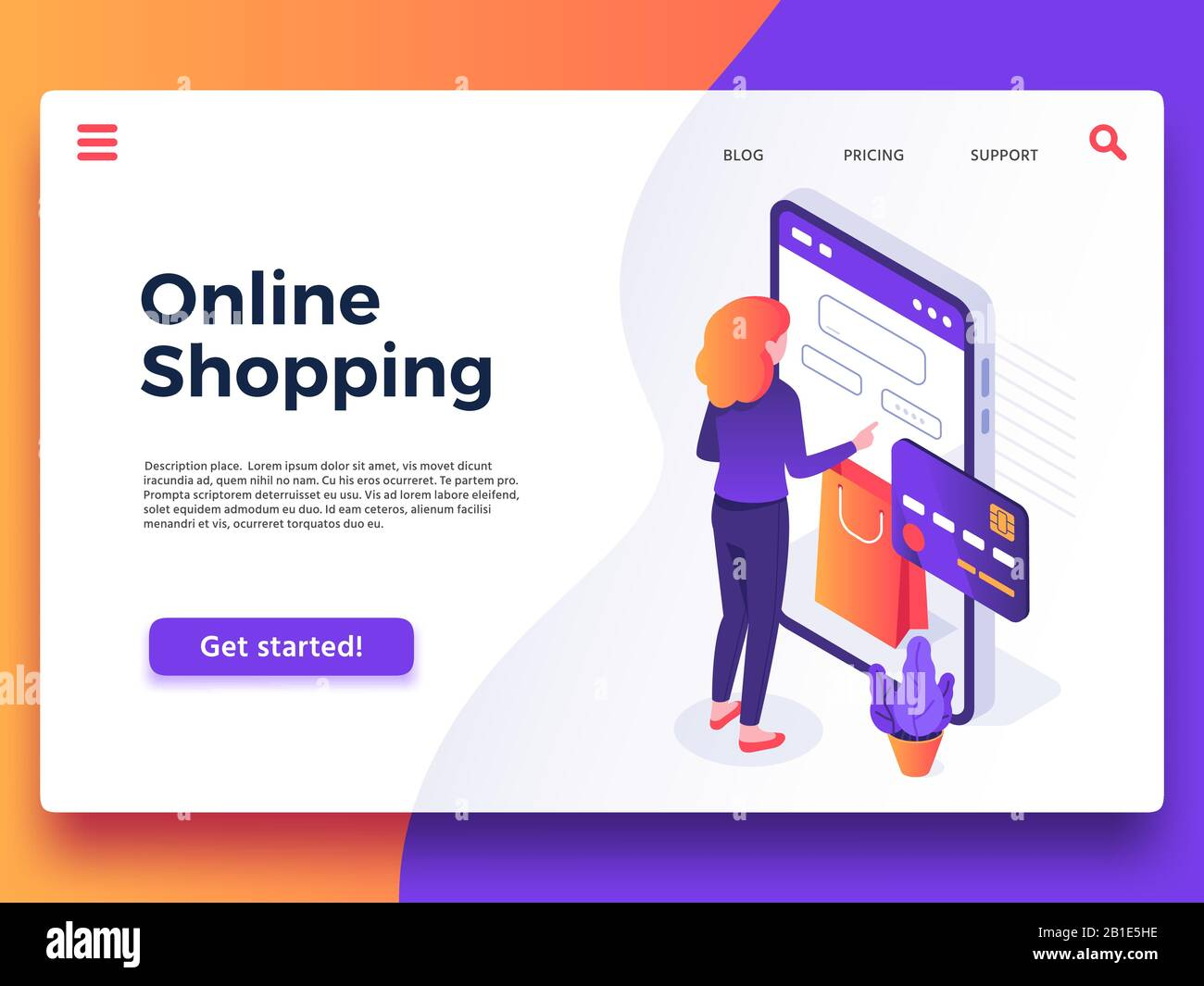 Online shopping landing page. Internet shop, mobile store app and payments  billing vector illustration Stock Vector Image & Art - Alamy