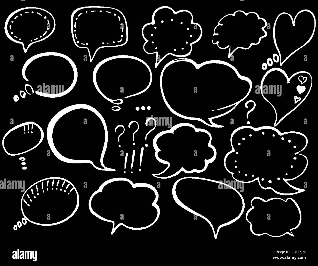 Speech Bubble Hand Drawn Painted Speech Bubbles For T Shirt Print Flyer Poster Design White Speech Bubbles Isolated On Dark Background Stock Vector Image Art Alamy