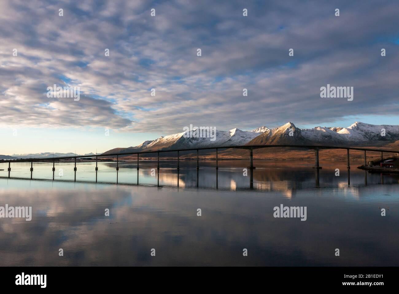 The Andoybrua Andoy Bridge Across The Risoysundet Between Andoya And Hinnoya Andoy Nordland Norway Stock Photo Alamy