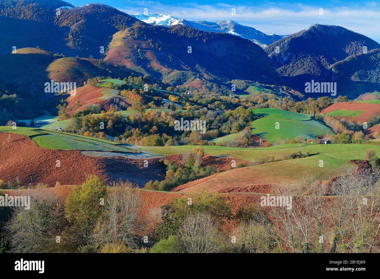 Baretous valley in autumn, Bearn, Pyrenees Atlantiques, France Stock Photo