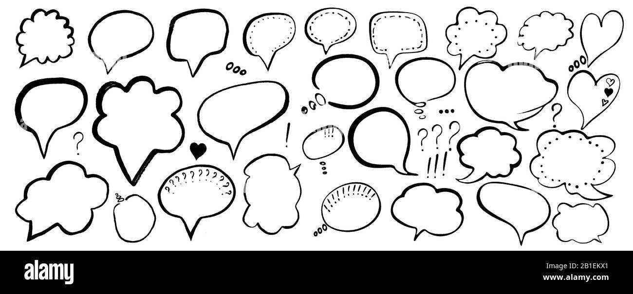 Speech Bubble Hand Drawn Painted Speech Bubbles For T Shirt Print Flyer Poster Design Black Speech Bubbles Isolated On White Background Stock Vector Image Art Alamy