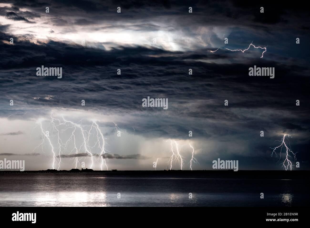 Thunderstorm in the Mediterranean off Tarragona the night of August 9-10, 2016, Sant Carle de la Rapita, Ebro Delta, Tarragona, Spain Stock Photo