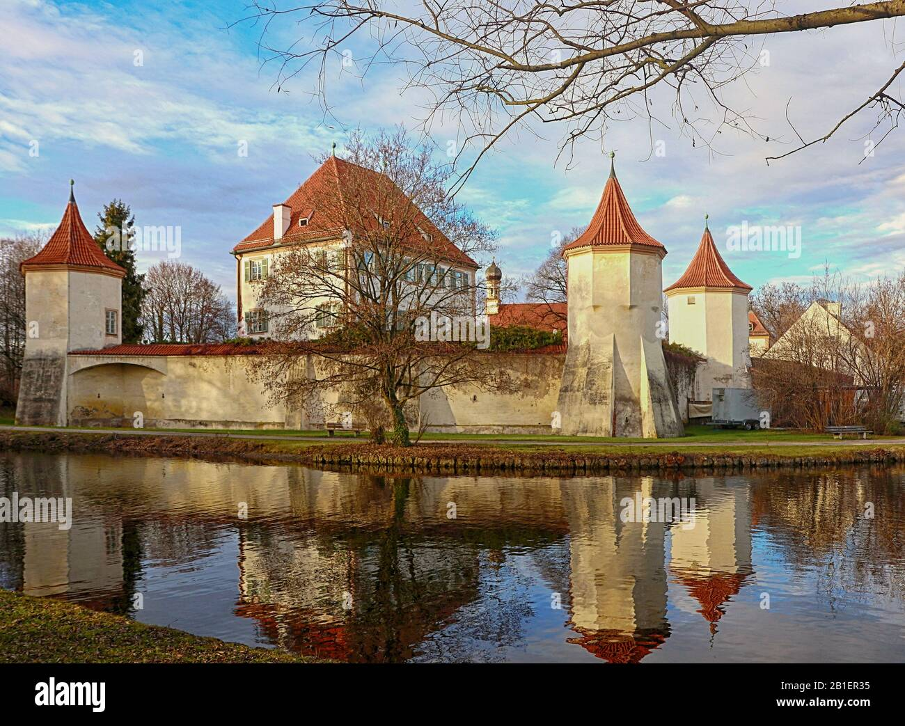 Munich, Blutenburg castle on the banks of Wuerm river, hunting lodge of the Duke of Bavaria built in the year 1439 Stock Photo