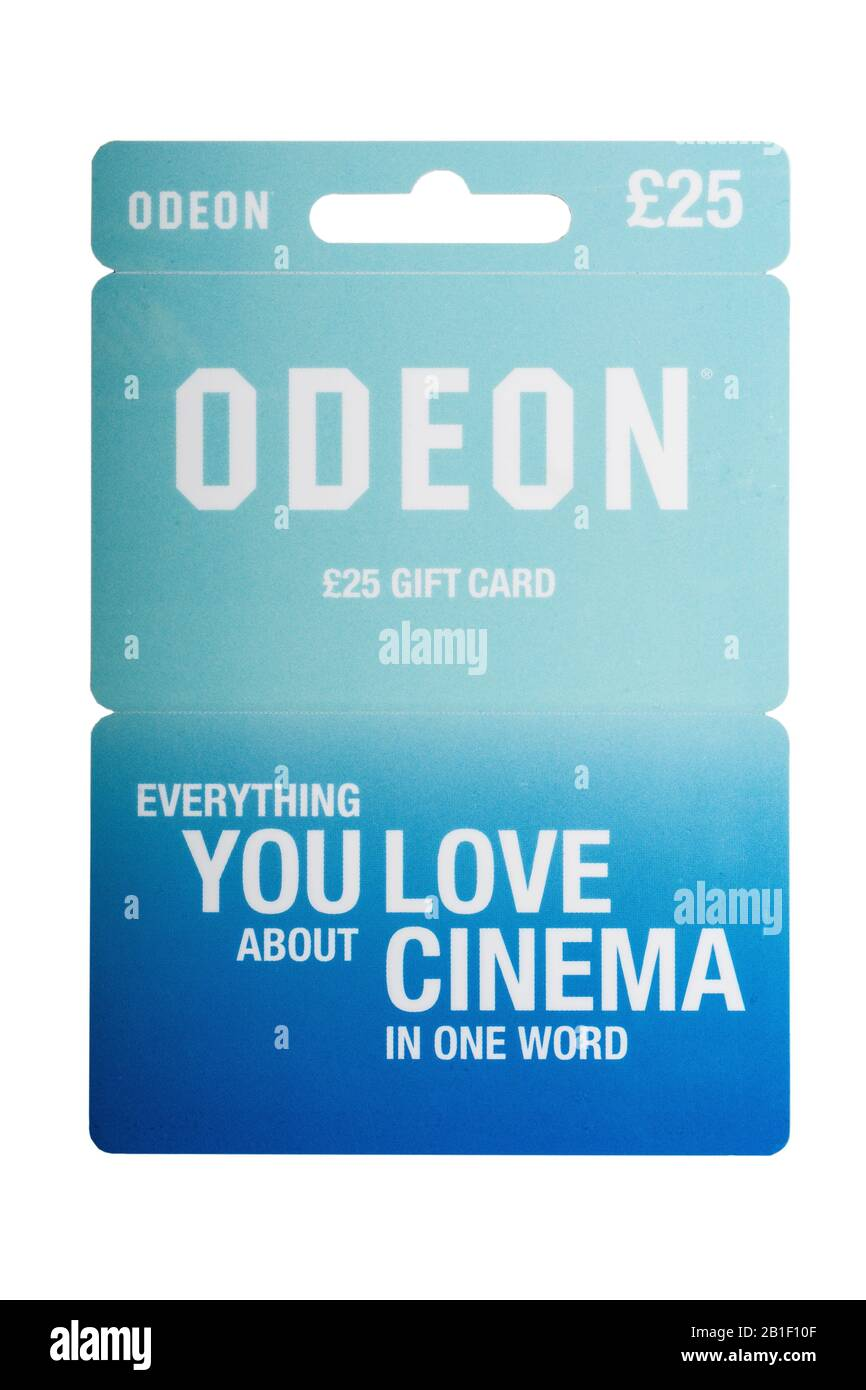 A £25 gift voucher for the Odeon Cinema on a white background Stock Photo