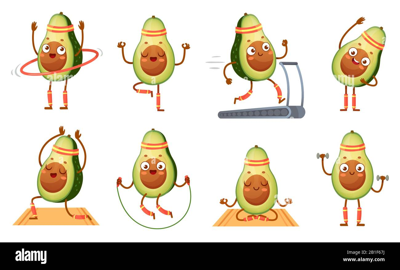 Cartoon Avocado Character Fitness Funny Avocados In Yoga Poses Gym Cardio And Vegetarian Sport Food Mascot Vector Illustration Set Stock Vector Image Art Alamy