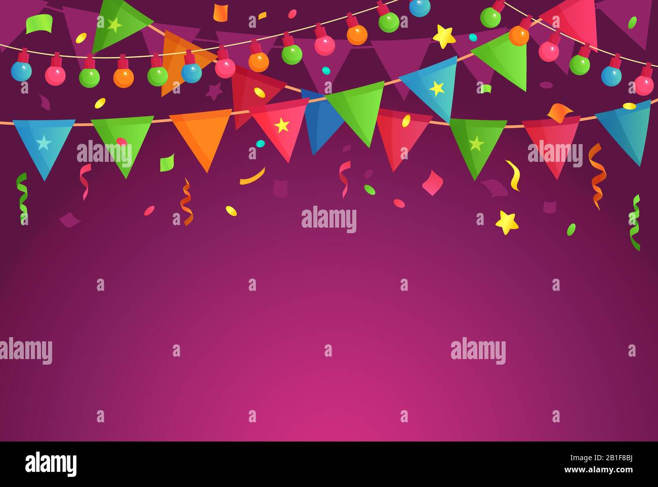 Cartoon Decoration Party Celebrate Birthday Flags With Confetti Festival Background And Fun Event Decorations Vector Illustration Stock Vector Image Art Alamy