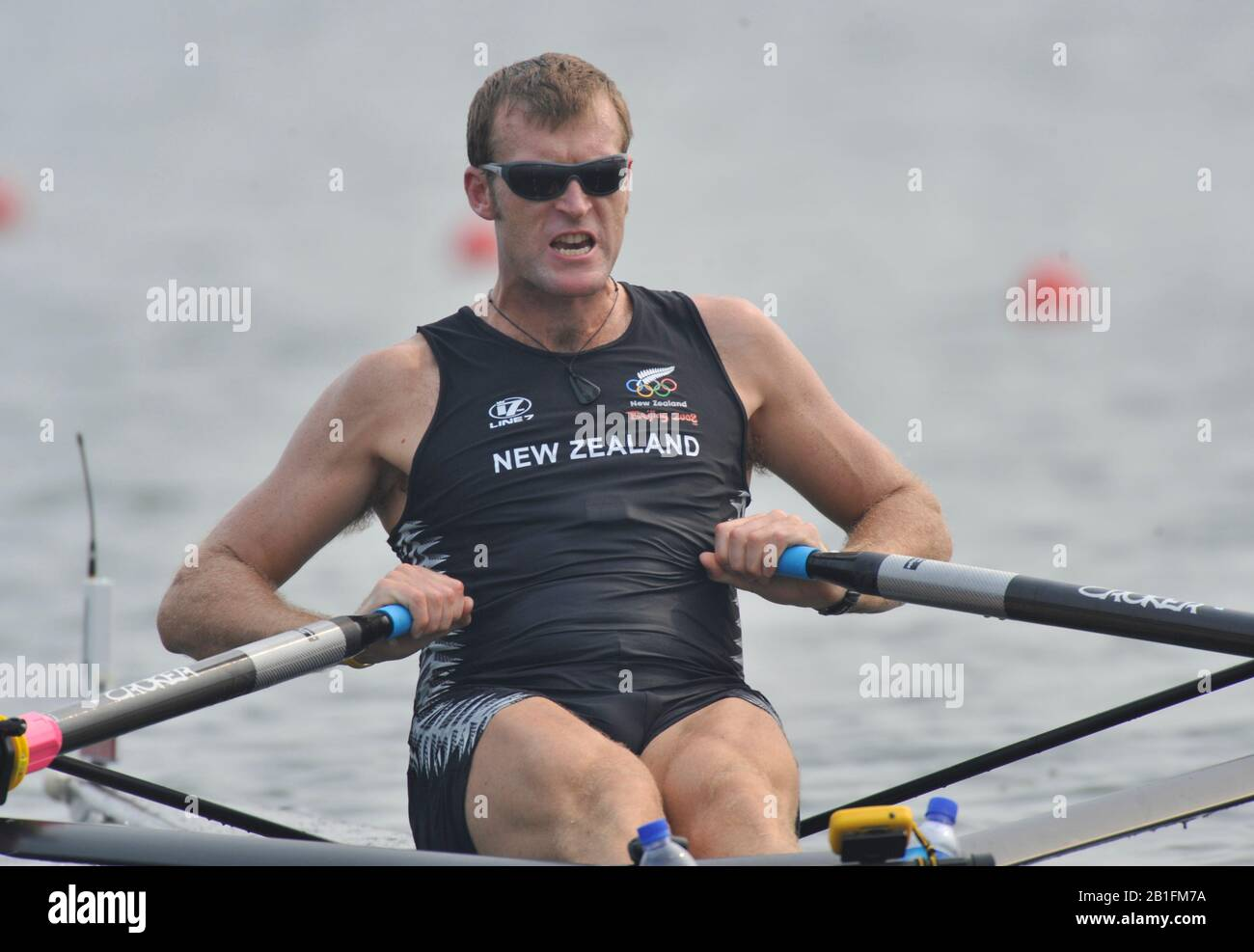Shunyi, CHINA. NZL M1X,  Mahe DRYSDALE, moves away from the start in his heat of the men's single sculls at the 2008 Olympic Regatta,  Saturday, 09.08.2008  [Mandatory Credit: Peter SPURRIER, Intersport Images] Stock Photo