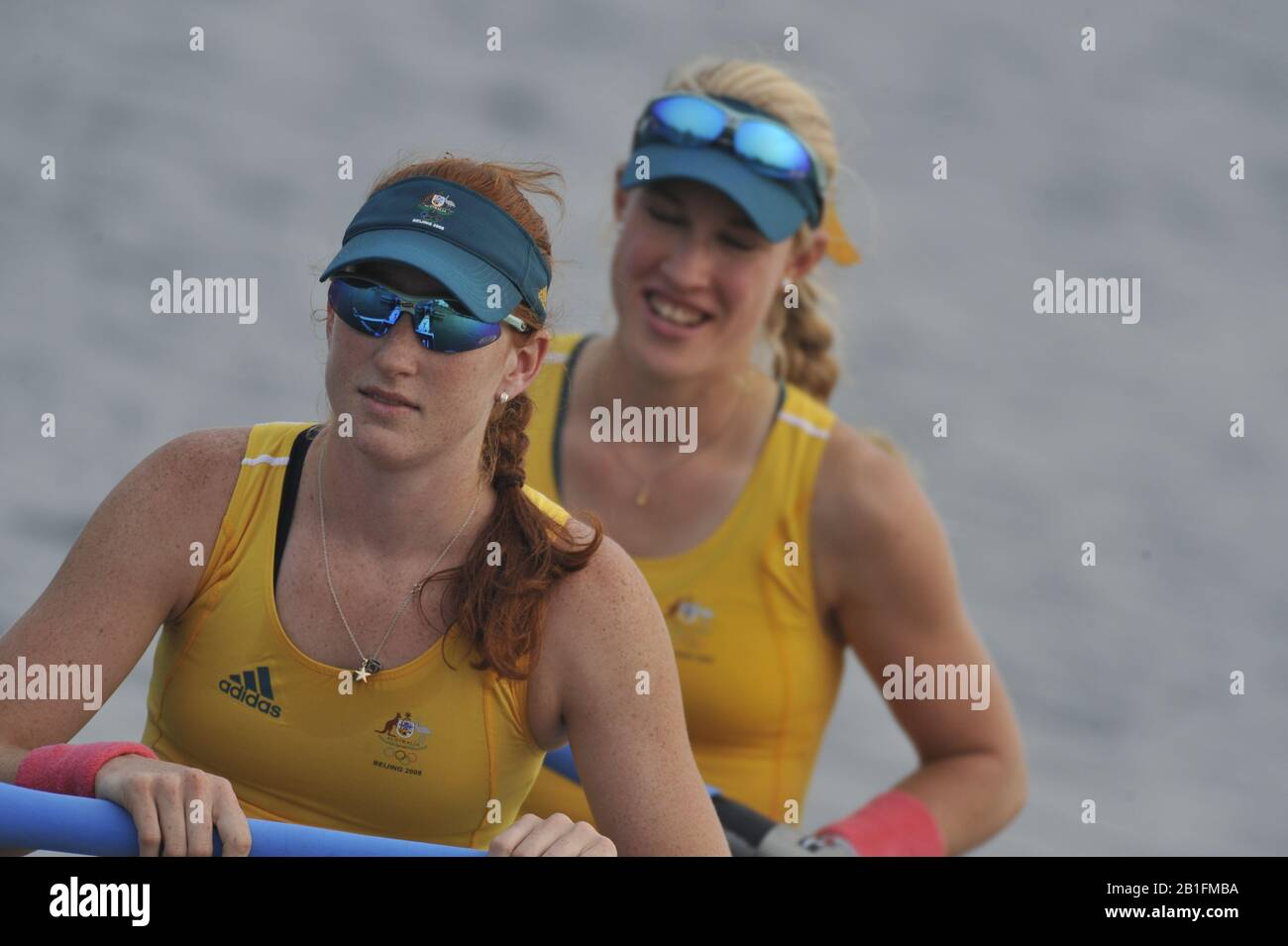 Shunyi, CHINA.  Start of a heat of a heat of the women's pairs, AUS W2- Bow, Kim CROW and Sarah COOK, at the 2008 Olympic Regatta,  Saturday, 09.08.2008  [Mandatory Credit: Peter SPURRIER, Intersport Images] Stock Photo